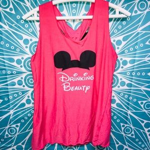 "Disney Themed ""Drinking Beauty"" Tank Top With Bow"